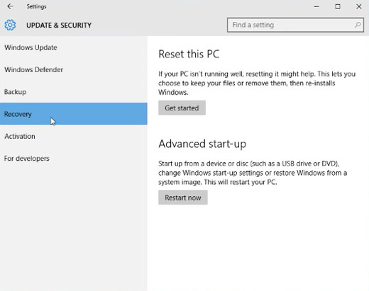 Windows10 recovery